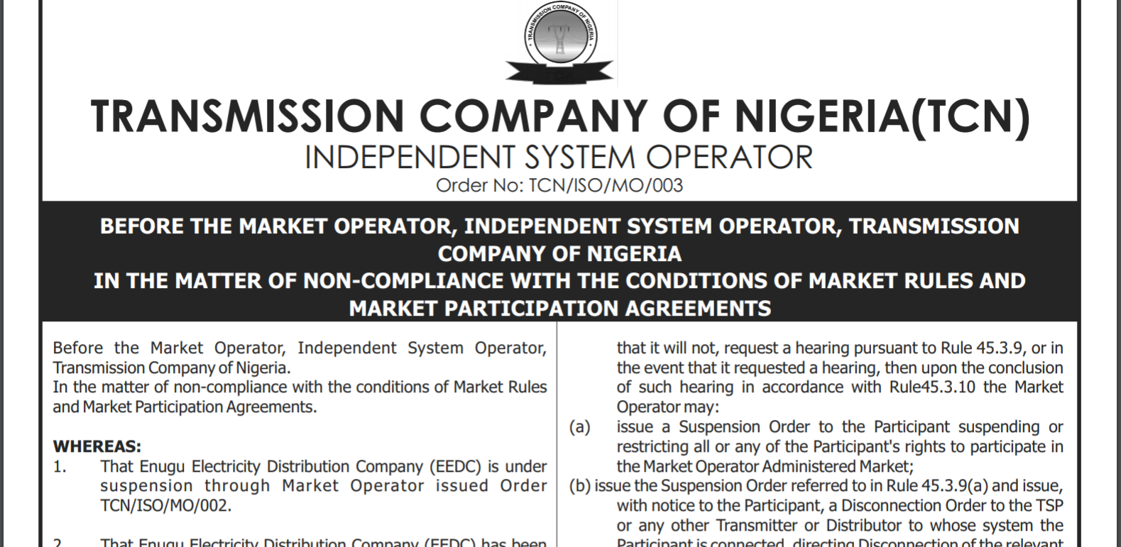 The Nigeria Electricity System Operator